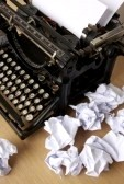 typewriter-crumpled paper
